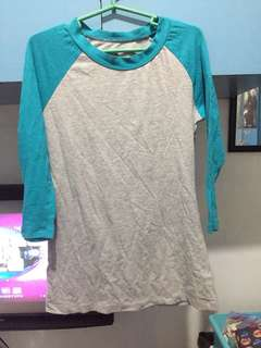 f21 blue green and gray top