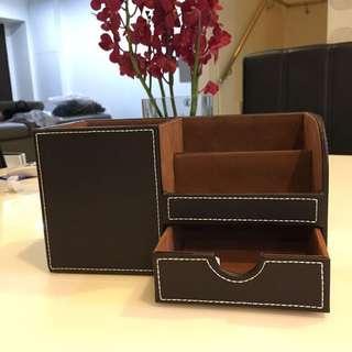 Faux Leather Stationery Holder Organiser Desktop