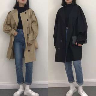 Spring South Korea Loose Joker Design Double-breasted Trench Coat Schoolgirl Leisure Long Long sleeve Jacket
