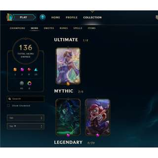 [sg/my] LoL gold account with soul stealer vayne and hextech annie and 136 skins