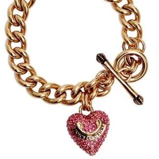 Juicy Couture Pink Pavé Puffy Heart Toggle Chain Link Bracelet - Charm Starter