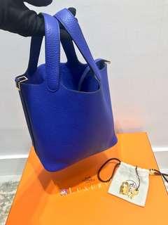 ✨剛3月買入! 🦄Hermes✨⚡️Picotin 18 Bleu Electrique 7T 電光藍 Clemence Ghw金扣 C年 $25000