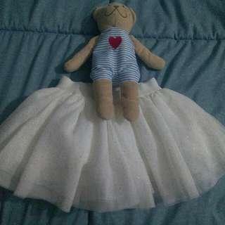 Baby Tutu Skirt (White With Gold Glitter)