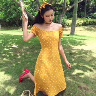 [D412] Retro Pokka Dots Off Shoulder Dress