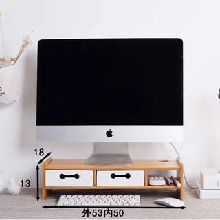 Bamboo Wood Monitor/Laptop Riser with Drawers