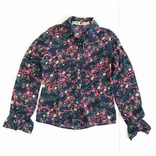 Dark Blue / Pink Floral Silk Shirt VINTAGE