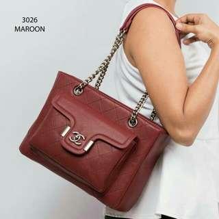 Chanel Premium Handbag (Maroon/Khaki)