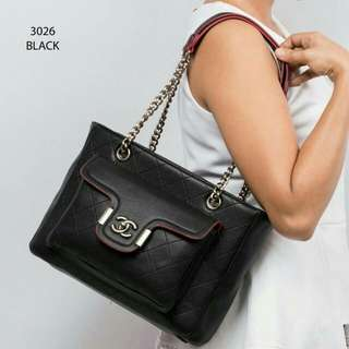 Chanel Premium Handbag (Black/Navy Blue)