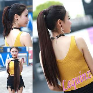 Long Straight Clip on Hair Extensions Wrap Over