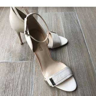 Nine West 10cm Pearl White Heeled Sandals