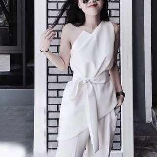 🔱⏳ (More cols) Cameo-Inspired Asymmetrical toga Waist sash top