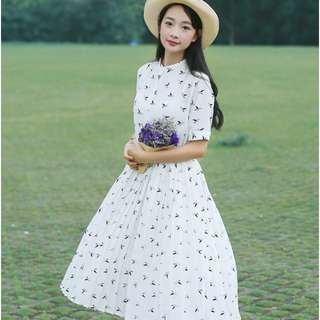 Woman Summer New Floral Chiffon Short Sleeves Long Slim Dress (S) White only