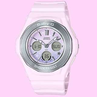 NEW🌟ARRIVAL CASIO BABYG DIVER WATCH : 1-YEAR OFFICIAL VALID WARRANTY :  100% Originally Authentic BABY-G Shock Resistant Watch in PINK added colourful Stars ABSOLUTELY TOUGHNESS BEST GIFT For Most Rough Users BGA-100ST-4ADR / BGA100ST / BGA-100 by G-SHOCK