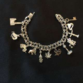 Canadian Themed Stirling Silver Charm Bracelet with 12 Charms