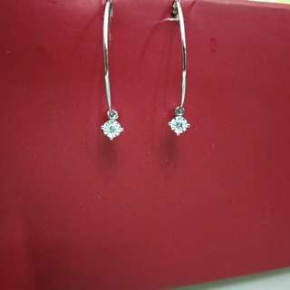全新18K白金鑽石耳環 鑽石兩粒共重6份