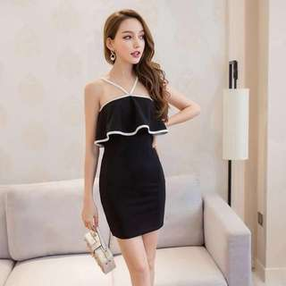PO : Sizes Available From S To L. Super Sweet And Sexy Korean Style Y Neck Design Ruffles Black And White Bodycon/Body Hugging Party Dress