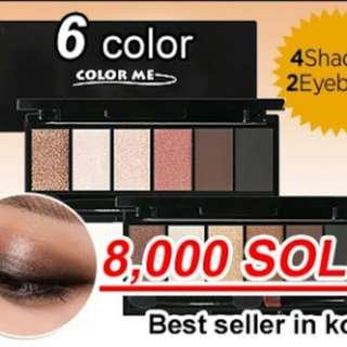 Colorme EYESHADOW 6color kit 4 eyeshadow +2 eyebrow + 2 brush trendy color