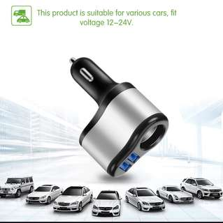 Car USB Charger with Cigarette Adapter