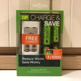[全新]GP AA AAA充電電池連USB充電座⚡️