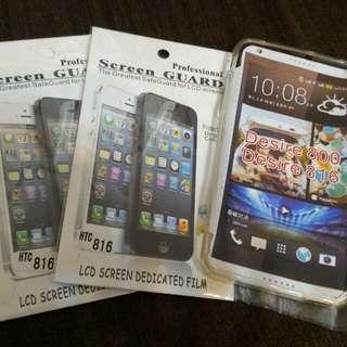 HTC 816 電話套+Mon貼x2