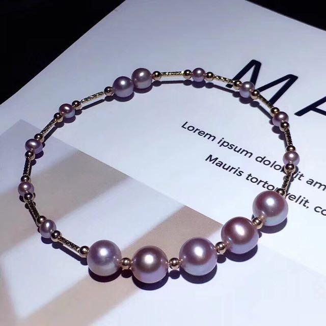 純天然紫珍珠手鐲,极品天然紫珍珠3-8mm左右,极强光,美貨!此款屬於客製化商品