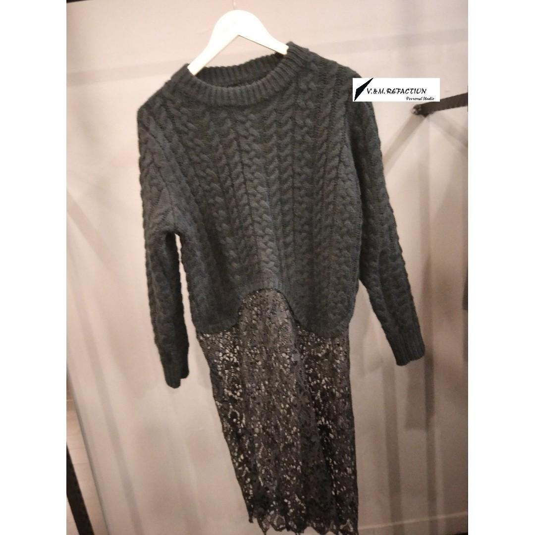 冬季現貨出清*黑色蕾絲接拼毛衣裙(原價980)特價600