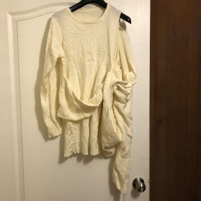 米白慵懶感針織洋裝