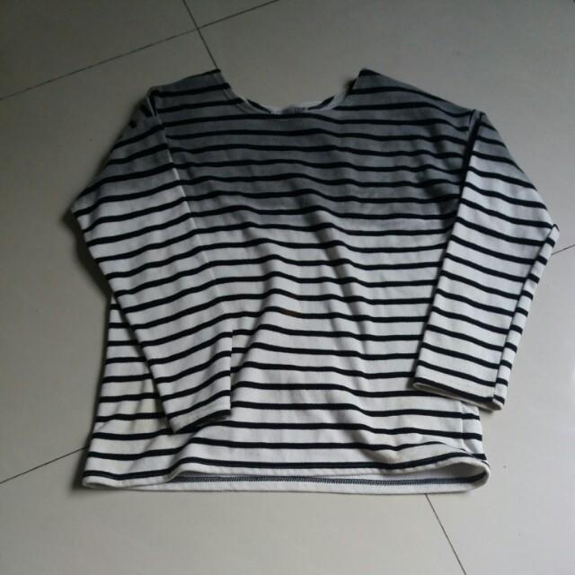 黑白條紋漸層長袖
