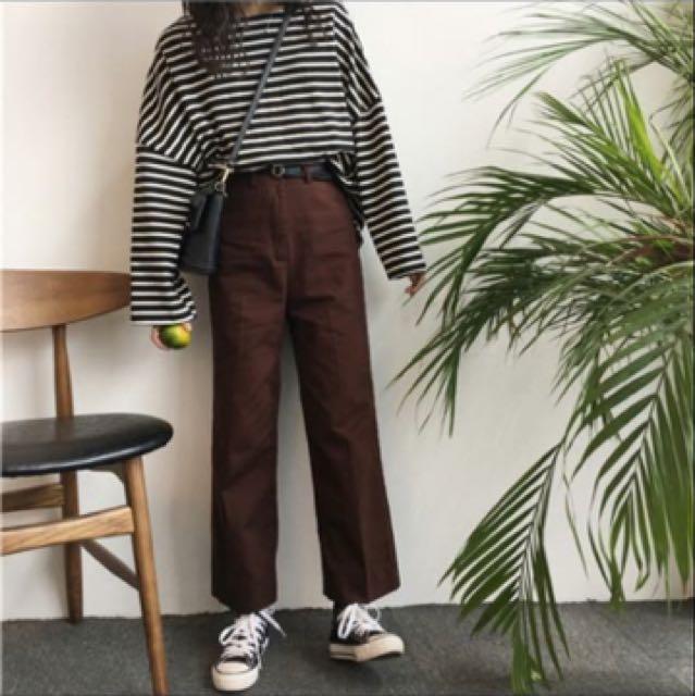 全新咖啡色牛仔寬褲