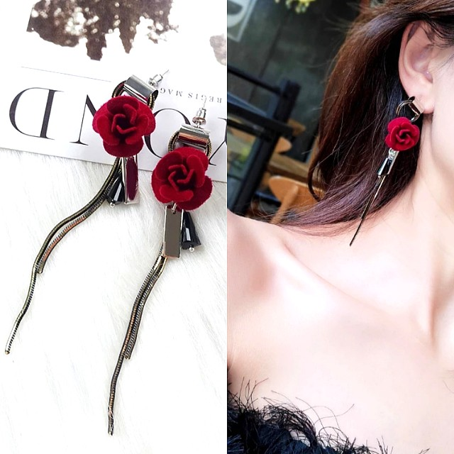 現貨🌹東大門新款玫瑰花鏈條流蘇長耳環