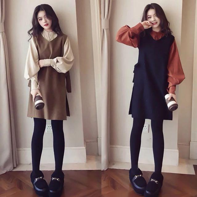 韓版寬鬆兩件式套裝長袖襯衫綁帶背心長版上衣連身裙洋裝