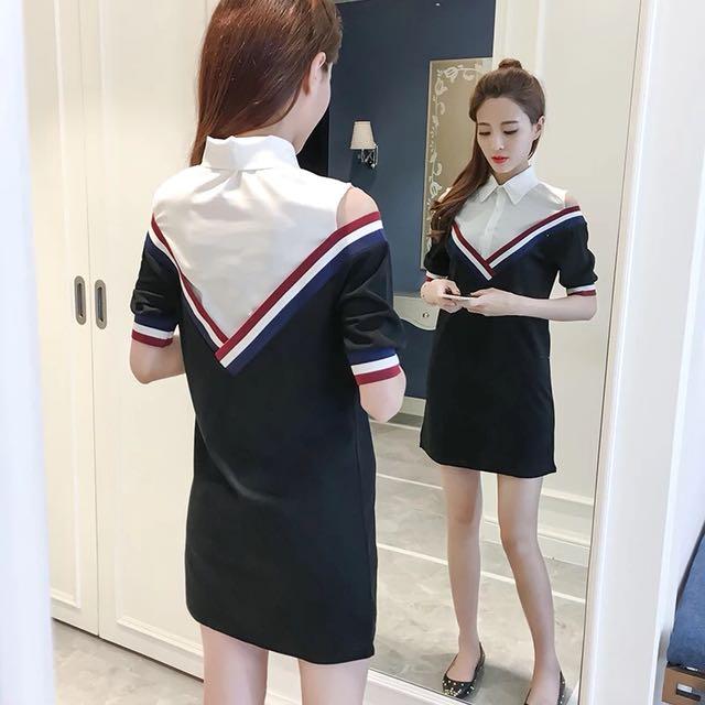 氣質露肩假兩件襯衫五分袖連身裙洋裝中長裙