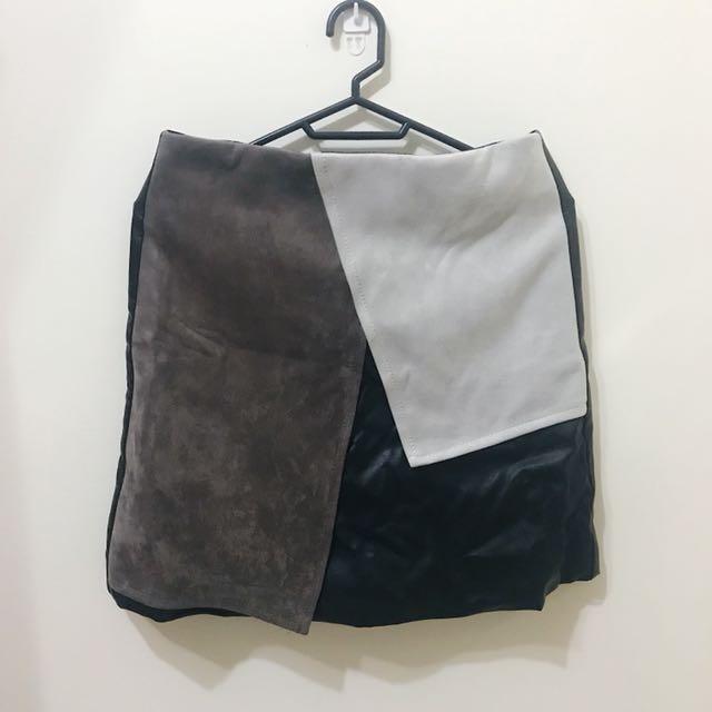 皮格&絨拼接短裙