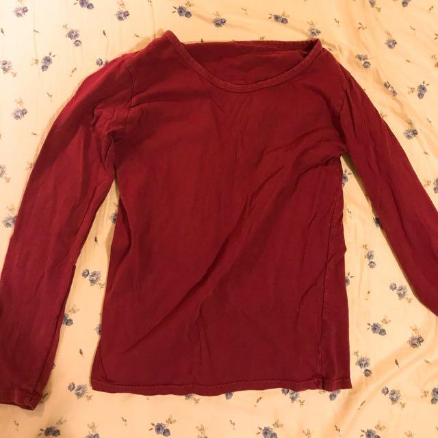 棗紅色白搭棉質上衣