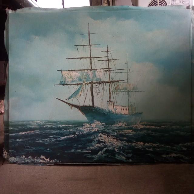 汪洋中的一條船 油畫 (無框)