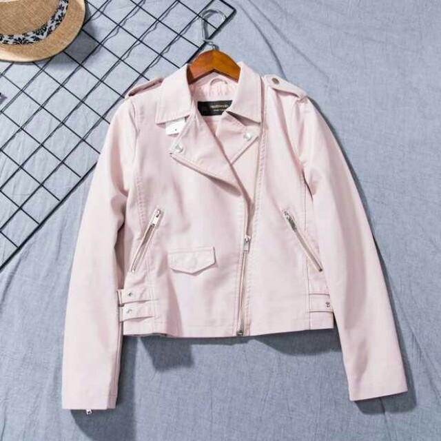 粉色機車外套 皮衣夾克