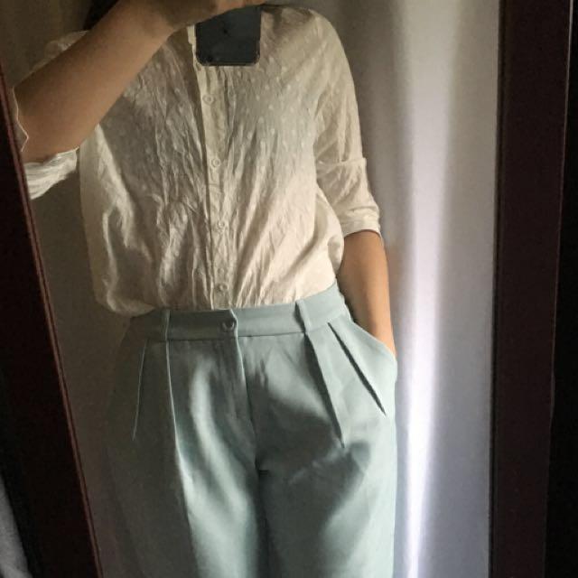 正韓 白點點七分袖襯衫+青蘋果色雪紡西裝褲