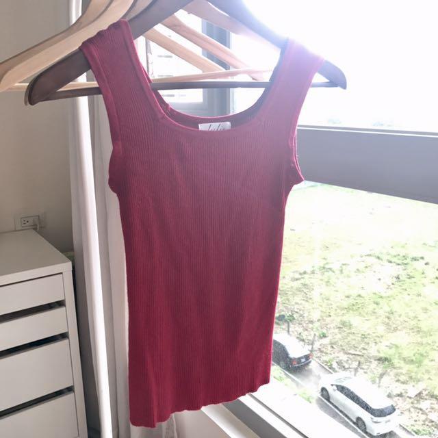 韓國 櫻桃紅 針織 無袖 上衣