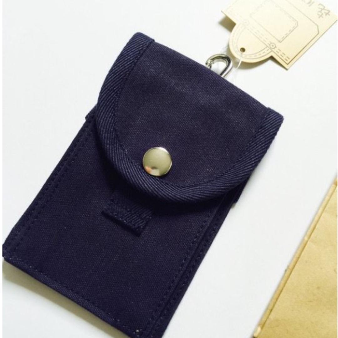 日本京都老品牌 一澤帆布 全新未使用證件套,吊包 深丈青 帆布包