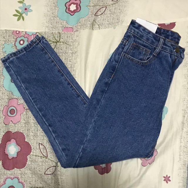 深藍色 直筒 牛仔褲 九分褲 全新 26腰