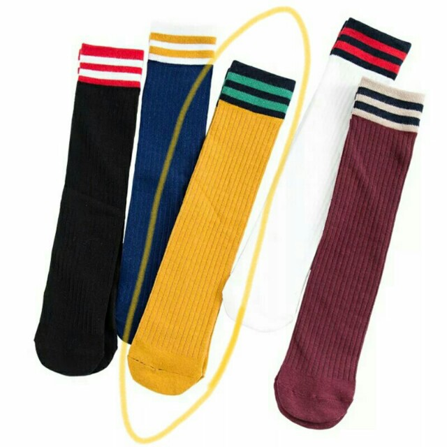土黃色 文青針織條紋襪 堆堆襪 長襪 韓國襪子 泡泡襪 撞色條紋