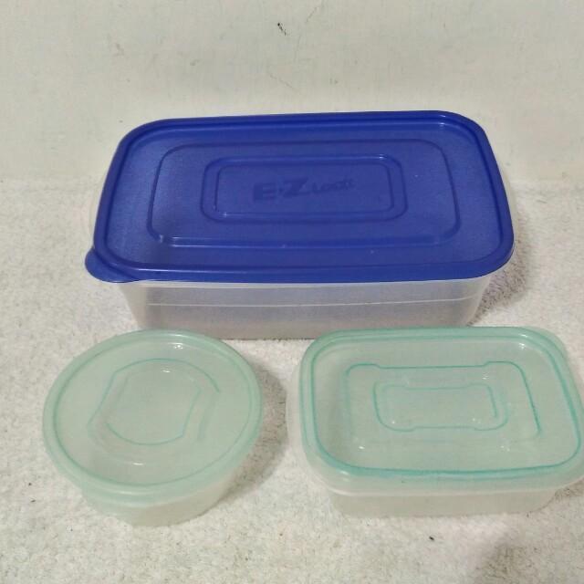 二手~一個 韓國製 樂扣樂扣EZ Lock保鮮盒2.7L+二個 日本製 ONE PLUS+保鮮盒 520ml 共3個