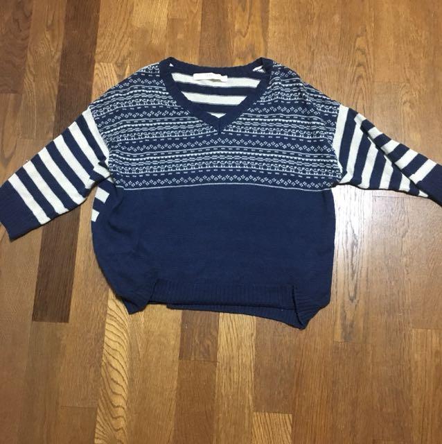 日牌 藍色條紋針織衫 F