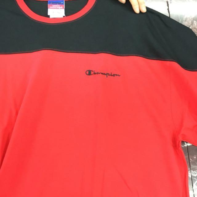 美版 Champion 黑紅拼接 長袖美式休閒運動上衣