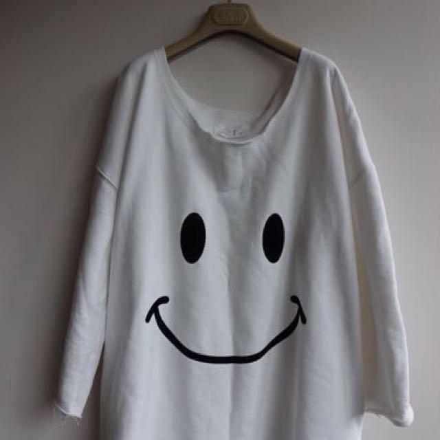 正韓 大圓領微笑內刷毛大學T 可當洋裝
