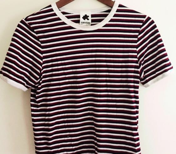 Subtitled general pants stripe tee shirt top tshirt size 8