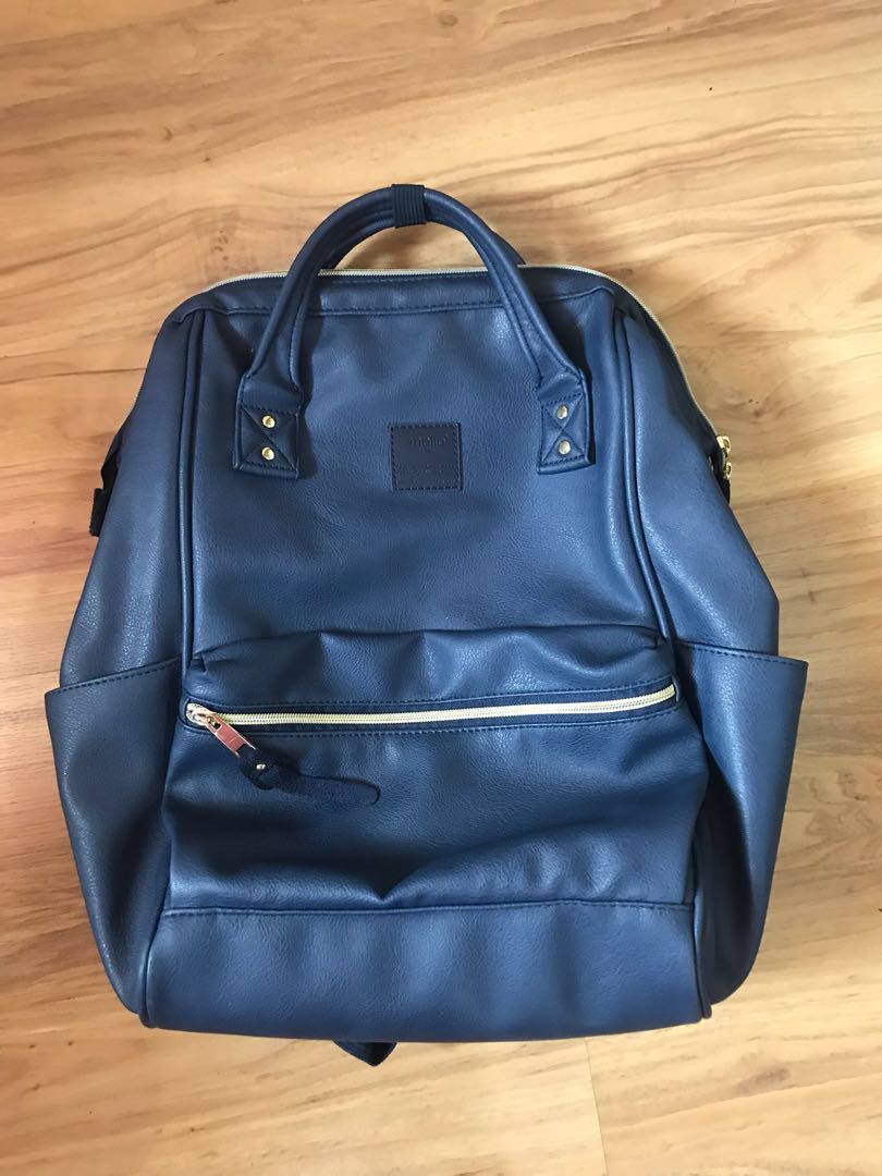 AUTHENTIC Anello Backpack leather dark blue LARGE