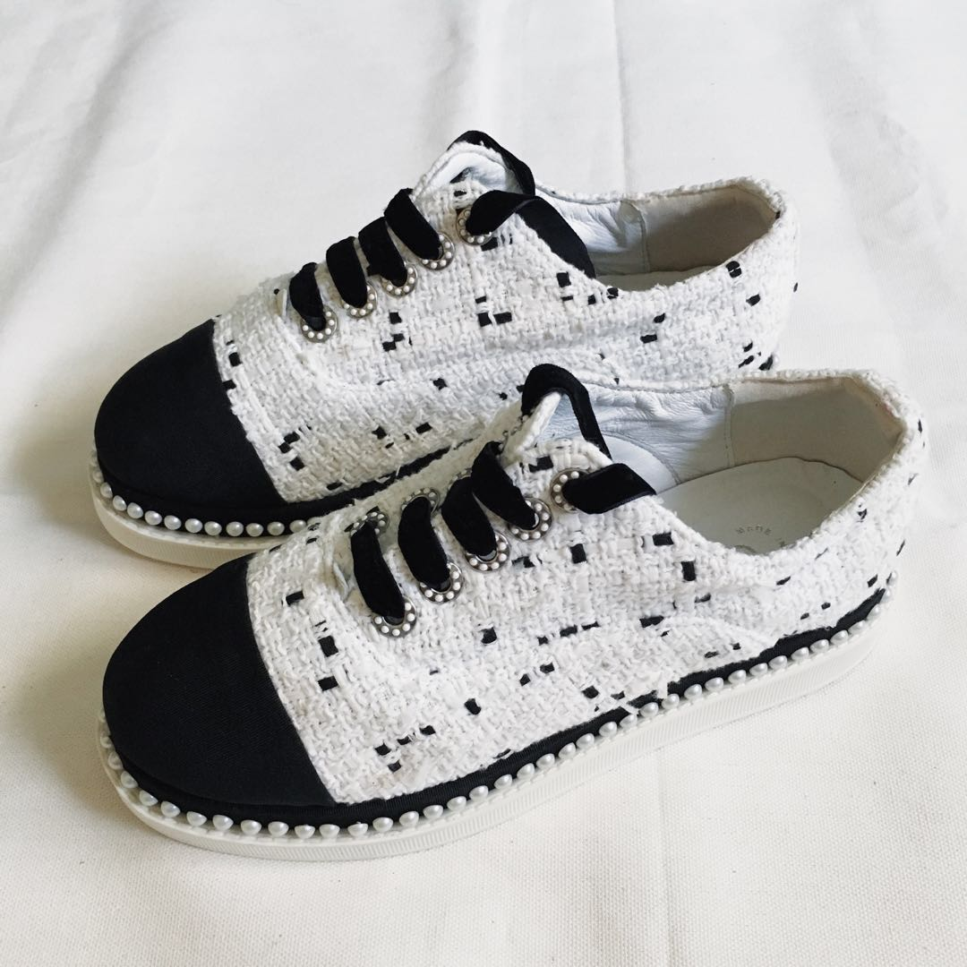 Authentic CHANEL Pearl Tweed Sneakers