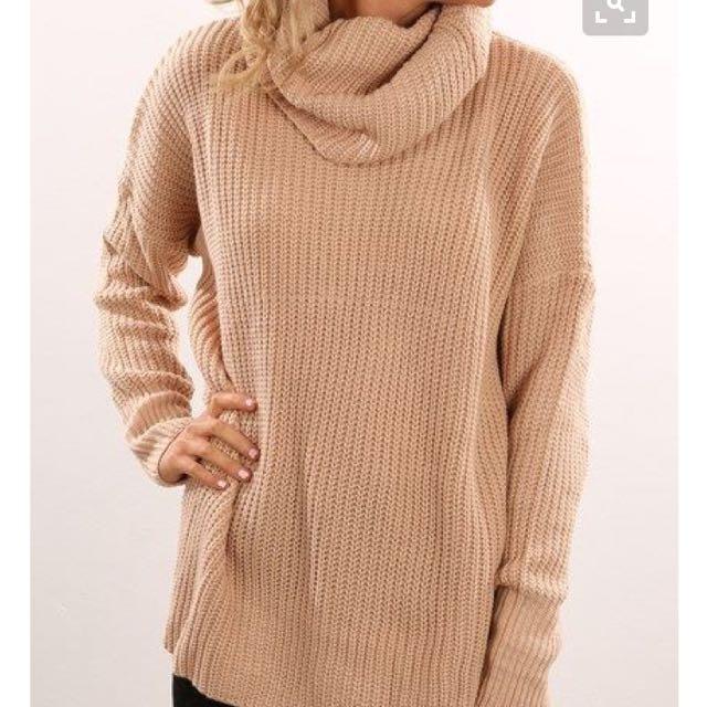 Beige Roll-neck Knit