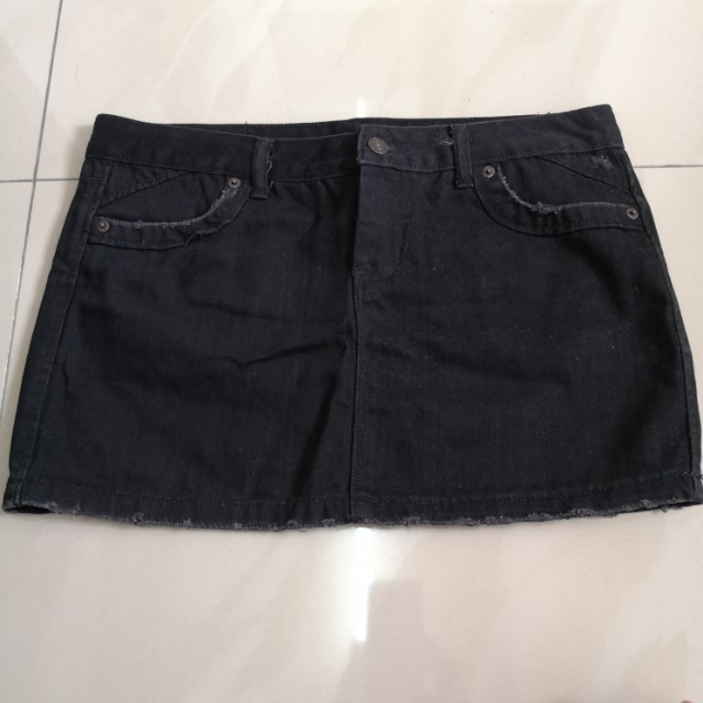 Black Denim Mini Skirt